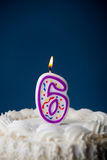 Cake: Birthday Cake With Candles For 6th Birthday Stock Photo
