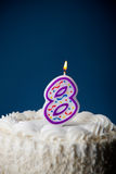 Cake: Birthday Cake With Candles For 8th Birthday Royalty Free Stock Photo