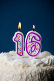 Cake: Birthday Cake With Candles For16th Birthday Stock Image