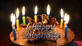 Cake for Birthday. Birthday cake and candle blowing. High Definition Video Format stock video footage