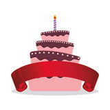 Cake birthday candle and red ribbon Stock Photos