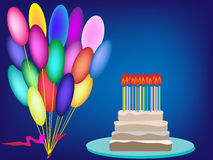 Cake birthday candles cream vector background birthday balloons Stock Photo