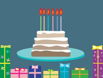 Cake birthday gifts holiday candles 6 years old. Postcard invitation food celebration vector illustration