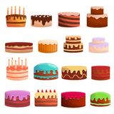 Cake birthday icon set, cartoon style stock illustration