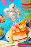 Cake  on birthday party table for child Stock Photos