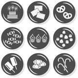 Cake biscuits cookies pretzels button set. Food cake biscuits cookies pretzels sweets cupcakes chocolates ice cream lollipops flat gray monochrome button set Royalty Free Stock Photo