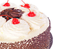 Cake Black Forest with whipped cream, candied cherry and chocola. Te, isolated on white background Stock Photo