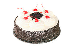 Cake Black Forest with whipped cream, candied cherry and chocola Stock Photography