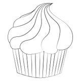 Cake. Black outline vector Cake on white background Royalty Free Stock Photos