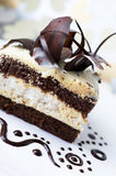 Cake with black and white chocolate Royalty Free Stock Image