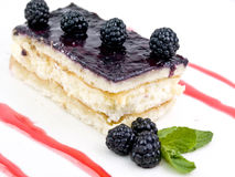 Cake of blackberries. With cream Stock Photography