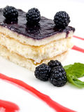 Cake of blackberries. With cream Stock Photo