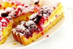 Cake with blackberries and raspberries. Cake pastry with blackberries, raspberries and cream Royalty Free Stock Photos