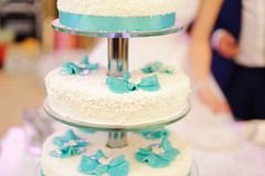 Cake with Blue Flowers Stock Images