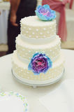 Cake with Blue Flowers Stock Photo
