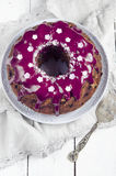 Cake with blueberries and blueberry glaze Royalty Free Stock Photos