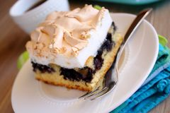 Cake with blueberries and meringue Royalty Free Stock Photo