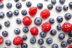 Cake with blueberries and raspberries. Confectionery product. Stock Photos