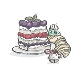 Cake with blueberries, strawberries and Christmas bell. Image of cake with blueberries, strawberries and Christmas bell stock illustration