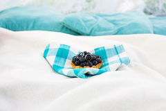 Cake with blueberry on blue napkin Stock Photography