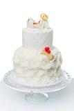 Cake with bone for dog wedding. Beautiful traditional white wedding cake with bone decor for dog wedding party. studio shot isolated on white background. copy stock photo