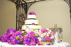 Cake and Bouquets royalty free stock photography