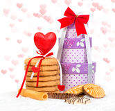 Cake and box gift with hearts Stock Photo