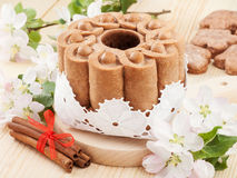 Cake with branches of blossom apple tree Royalty Free Stock Image