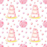Cake and Bunch Watercolor Seamless Pattern Royalty Free Stock Photos