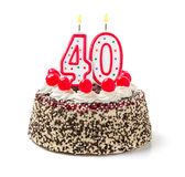 Cake with burning candle number 40 Stock Photo