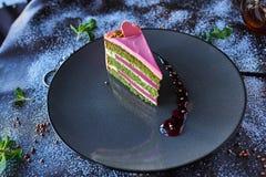 Chocolate cake in powdered sugar royalty free stock image