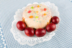Cake candied fruit and sugar powder Royalty Free Stock Images