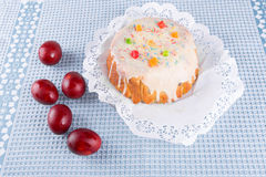 Cake candied fruit and sugar powder Stock Photo