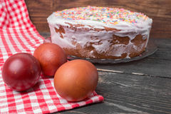 Cake candied fruit and sugar powder Stock Photography