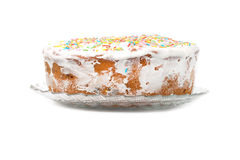 Cake candied fruit and sugar powder Royalty Free Stock Photo
