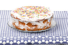 Cake candied fruit and sugar powder Stock Image