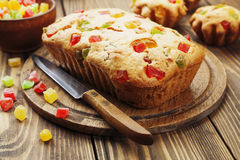 Cake with candied fruit Stock Images