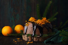 Cake with candied orange peel Royalty Free Stock Photo
