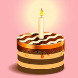 Cake and candle Royalty Free Stock Photo