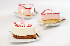Cake with a candle Royalty Free Stock Photo