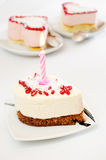 Cake with a candle Stock Image