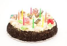 Cake with candle Stock Image