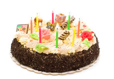 Cake with candle Royalty Free Stock Image