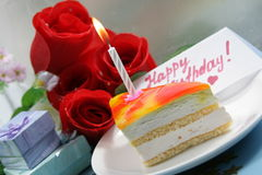 Cake with candle for birthday Royalty Free Stock Photos