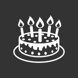 Cake with candle icon. Simple flat pictogram for business, marke. Ting, internet concept on black background. Trendy modern vector symbol for web site design or Royalty Free Stock Photos