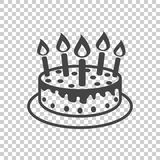 Cake with candle icon. Simple flat pictogram for business, marke. Ting, internet concept on isolated background. Trendy modern vector symbol for web site design Royalty Free Stock Photography