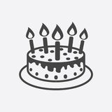 Cake with candle icon. Simple flat pictogram for business, marke. Ting, internet concept on white background. Trendy modern vector symbol for web site design or Stock Photography