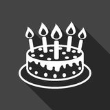 Cake with candle icon. Simple flat pictogram for business, marketing, internet concept on black background with long shadow. Trendy modern vector symbol for Stock Photo