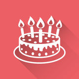 Cake with candle icon. Simple flat pictogram for business, marketing, internet concept on red background with long shadow. Trendy modern vector symbol for web Royalty Free Stock Image