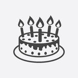 Cake with candle icon. Simple flat pictogram for business, marketing, internet concept on white background. Trendy modern vector symbol for web site design or Stock Images